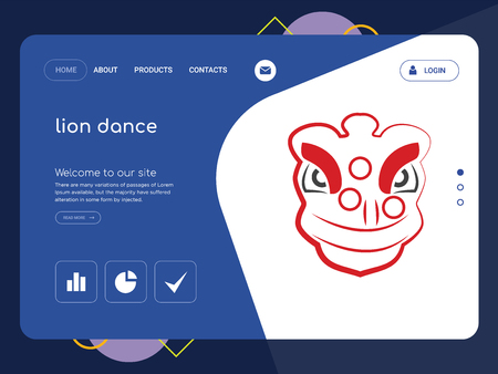 Quality One Page lion dance Website Template Vector Eps, Modern Web Design with flat UI elements and landscape illustration, ideal for landing page Illustration