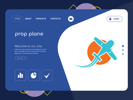 Quality One Page prop plane Website Template Vector Eps, Modern Web Design with flat UI elements and landscape illustration, ideal for landing page