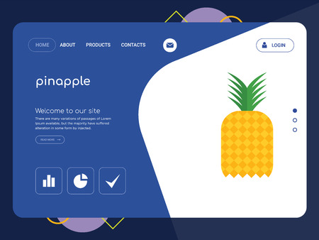 Quality One Page pinapple Website Template Vector Eps, Modern Web Design with flat UI elements and landscape illustration, ideal for landing page