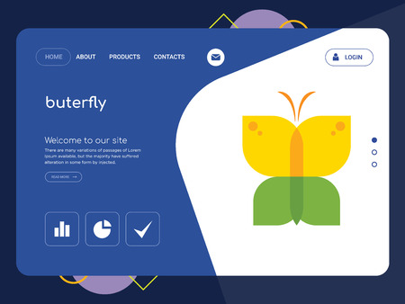 Quality One Page buterfly Website Template Vector Eps, Modern Web Design with flat UI elements and landscape illustration, ideal for landing page  イラスト・ベクター素材