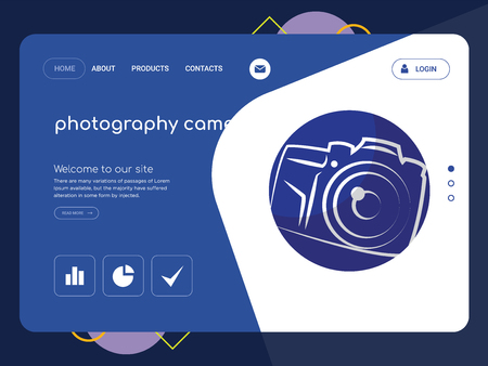 Quality One Page photography camera Website Template Vector Eps, Modern Web Design with flat UI elements and landscape illustration, ideal for landing page
