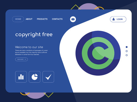 Quality One Page copyright free Website Template Vector Eps, Modern Web Design with flat UI elements and landscape illustration, ideal for landing page