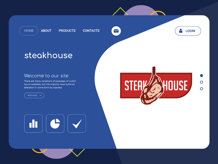 Quality One Page steakhouse Website Template Vector Eps, Modern Web Design with flat UI elements and landscape illustration, ideal for landing page