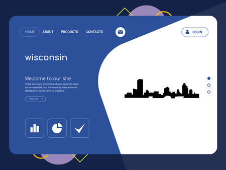 Quality One Page wisconsin Website Template Vector Eps, Modern Web Design with flat UI elements and landscape illustration, ideal for landing page