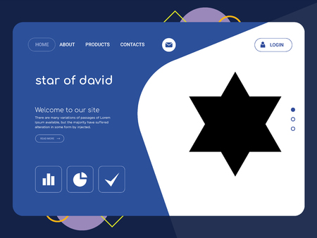 Quality One Page star of david Website Template Vector Eps, Modern Web Design with flat UI elements and landscape illustration, ideal for landing page Illustration