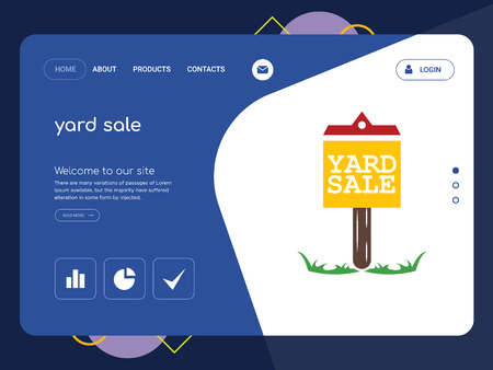 Quality One Page yard sale Website Template Vector Eps, Modern Web Design with flat UI elements and landscape illustration, ideal for landing page