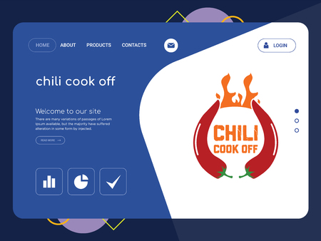 Quality One Page chili cook off Website Template Vector Eps, Modern Web Design with flat UI elements and landscape illustration, ideal for landing page 向量圖像