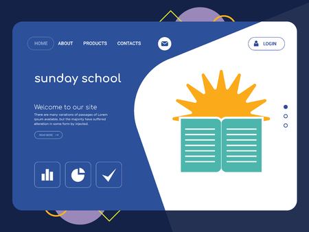 Quality One Page sunday school Website Template Vector Eps, Modern Web Design with flat UI elements and landscape illustration, ideal for landing page