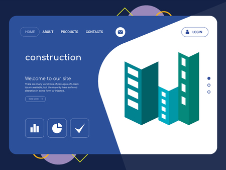 Quality One Page construction Website Template Vector Eps, Modern Web Design with flat UI elements and landscape illustration, ideal for landing page