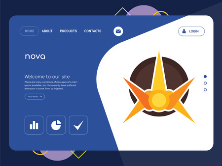 Quality One Page nova Website Template Vector Eps, Modern Web Design with flat UI elements and landscape illustration, ideal for landing page