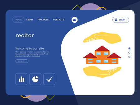 Quality One Page realtor Website Template Vector Eps, Modern Web Design with flat UI elements and landscape illustration, ideal for landing page