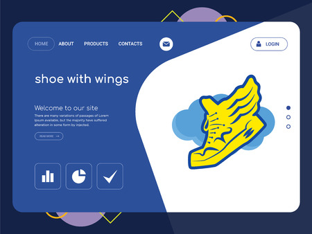 Quality One Page shoe with wings Website Template Vector Eps, Modern Web Design with flat UI elements and landscape illustration, ideal for landing page