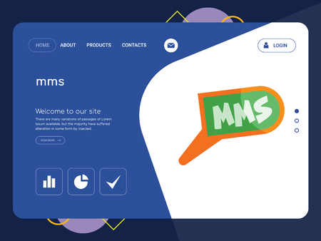Quality One Page mms Website Template Vector Eps, Modern Web Design with flat UI elements and landscape illustration, ideal for landing page