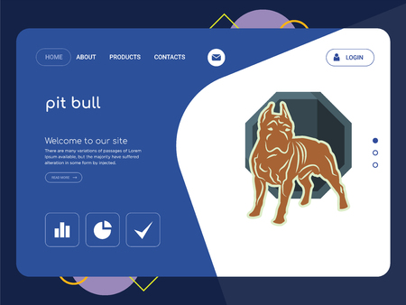 Quality One Page pit bull Website Template Vector Eps, Modern Web Design with flat UI elements and landscape illustration, ideal for landing page