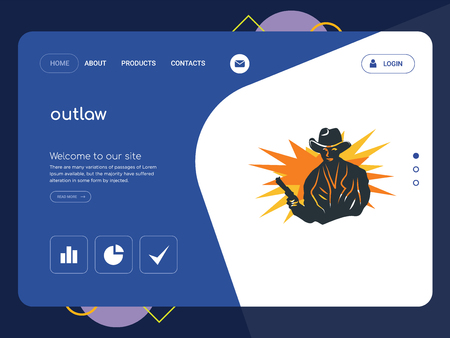 Quality One Page outlaw Website Template Vector Eps, Modern Web Design with flat UI elements and landscape illustration, ideal for landing page Illustration