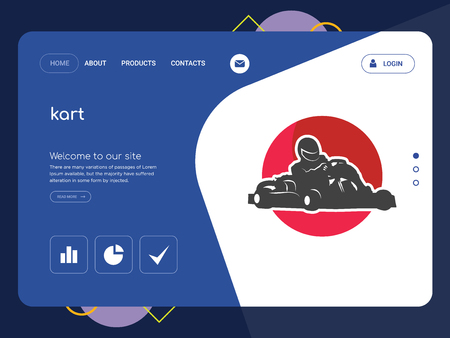 Quality One Page kart Website Template Vector Eps, Modern Web Design with flat UI elements and landscape illustration, ideal for landing page Stock Illustratie