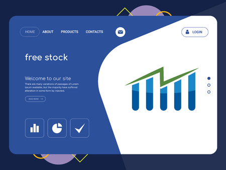 Quality One Page free stock Website Template Vector Eps, Modern Web Design with flat UI elements and landscape illustration, ideal for landing page Illustration