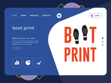 Quality One Page boot print Website Template Vector Eps, Modern Web Design with flat UI elements and landscape illustration, ideal for landing page Ilustração