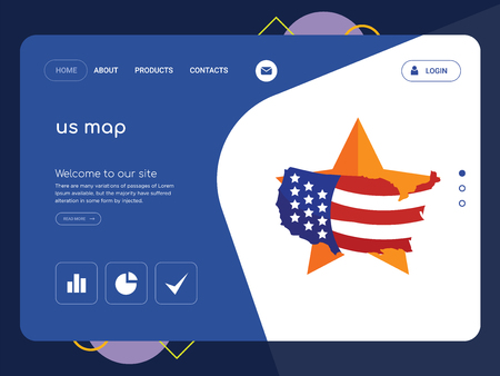 Quality One Page us map Website Template Vector Eps, Modern Web Design with flat UI elements and landscape illustration, ideal for landing page