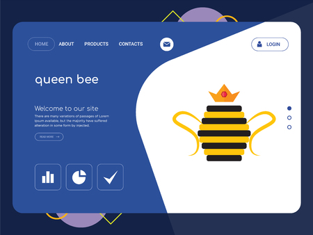 Quality One Page queen bee Website Template Vector Eps, Modern Web Design with flat UI elements and landscape illustration, ideal for landing page