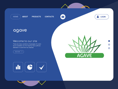 Quality One Page agave Website Template Vector Eps, Modern Web Design with flat UI elements and landscape illustration, ideal for landing page