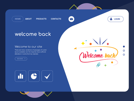 Quality One Page welcome back Website Template Vector Eps, Modern Web Design with flat UI elements and landscape illustration, ideal for landing page Illustration
