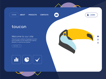 Quality One Page toucan Website Template Vector Eps, Modern Web Design with flat UI elements and landscape illustration, ideal for landing page