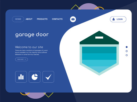Quality One Page garage door Website Template Vector Eps, Modern Web Design with flat UI elements and landscape illustration, ideal for landing page  イラスト・ベクター素材