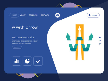 Quality One Page w with arrow Website Template Vector Eps, Modern Web Design with flat UI elements and landscape illustration, ideal for landing page Illusztráció