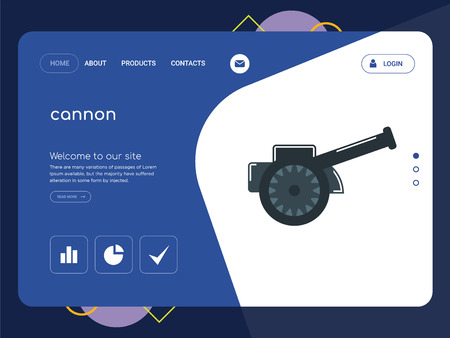 Quality One Page cannon Website Template Vector Eps, Modern Web Design with flat UI elements and landscape illustration, ideal for landing page