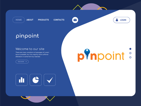 Quality One Page pinpoint Website Template Vector Eps, Modern Web Design with flat UI elements and landscape illustration, ideal for landing page