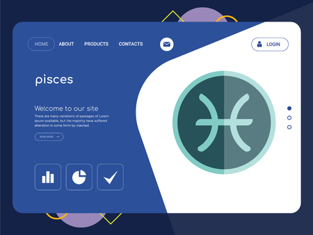 Quality One Page pisces Website Template Vector Eps, Modern Web Design with flat UI elements and landscape illustration, ideal for landing page Illustration