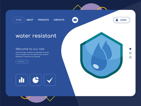 Quality One Page water resistant Website Template Vector Eps, Modern Web Design with flat UI elements and landscape illustration, ideal for landing page