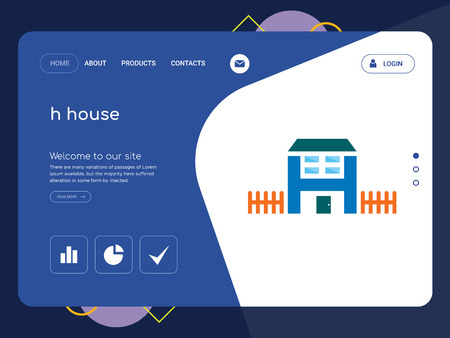 Quality One Page h house Website Template Vector Eps, Modern Web Design with flat UI elements and landscape illustration, ideal for landing page