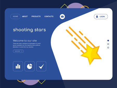 Quality One Page shooting stars Website Template Vector Eps, Modern Web Design with flat UI elements and landscape illustration, ideal for landing page