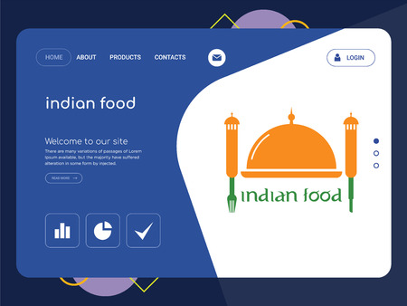 Quality One Page indian food Website Template Vector Eps, Modern Web Design with flat UI elements and landscape illustration, ideal for landing page