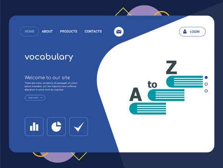 Quality One Page vocabulary Website Template Vector Eps, Modern Web Design with flat UI elements and landscape illustration, ideal for landing page  イラスト・ベクター素材