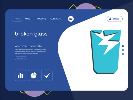 Quality One Page broken glass Website Template Vector Eps, Modern Web Design with flat UI elements and landscape illustration, ideal for landing page