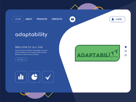 Quality One Page adaptability Website Template Vector Eps, Modern Web Design with flat UI elements and landscape illustration, ideal for landing page Vectores