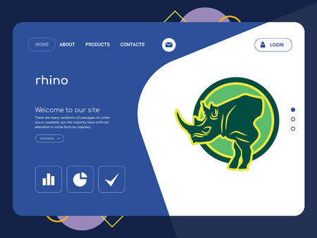 Quality One Page rhino Website Template Vector Eps, Modern Web Design with flat UI elements and landscape illustration, ideal for landing page 向量圖像