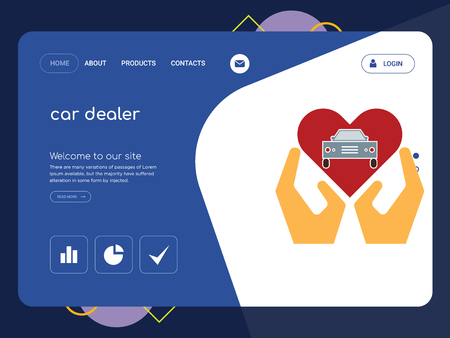 Quality One Page car dealer Website Template Vector Eps, Modern Web Design with flat UI elements and landscape illustration, ideal for landing page