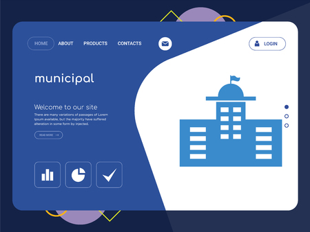 Quality One Page municipal Website Template Vector Eps, Modern Web Design with flat UI elements and landscape illustration, ideal for landing page