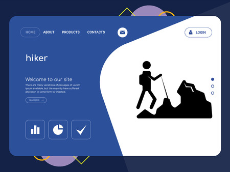 Quality One Page hiker Website Template Vector Eps, Modern Web Design with flat UI elements and landscape illustration, ideal for landing page