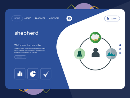 Quality One Page shepherd Website Template Vector Eps, Modern Web Design with flat UI elements and landscape illustration, ideal for landing page