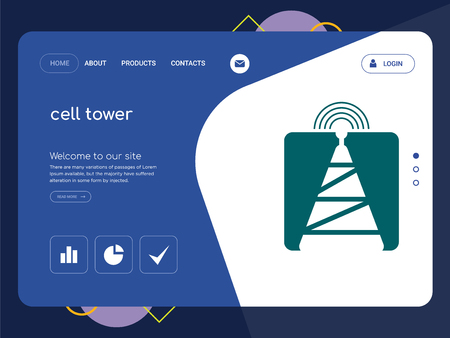 Quality One Page cell tower Website Template Vector Eps, Modern Web Design with flat UI elements and landscape illustration, ideal for landing page Vectores