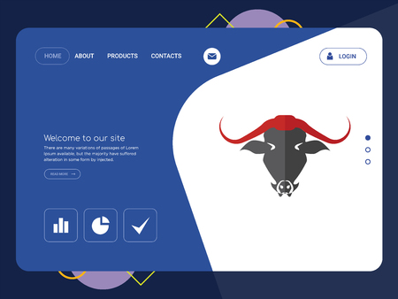 Quality One Page   Website Template Vector Eps, Modern Web Design with flat UI elements and landscape illustration, ideal for landing page