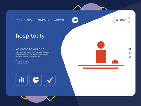 Quality One Page hospitality Website Template Vector Eps, Modern Web Design with flat UI elements and landscape illustration, ideal for landing page Vectores