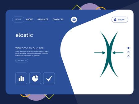 Una página de calidad elástica, Eps Vector Plantilla Web Diseño Web moderno con elementos de la IU plana y horizontal, ideal para la ilustración de la página de aterrizaje