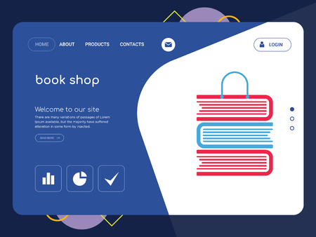 Quality One Page book shop Website Template Vector Eps, Modern Web Design with flat UI elements and landscape illustration, ideal for landing page
