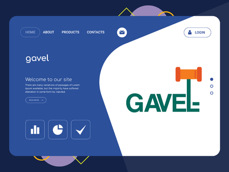 Quality One Page gavel Website Template Vector Eps, Modern Web Design with flat UI elements and landscape illustration, ideal for landing page